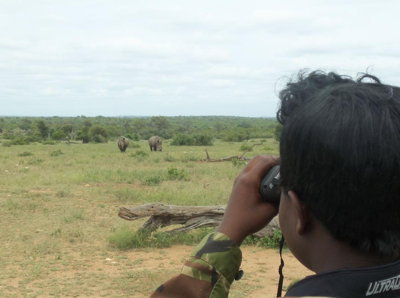 Black Mambas Women Anti-poaching Unit - woman-looking-at-rhinos-in-the-distance