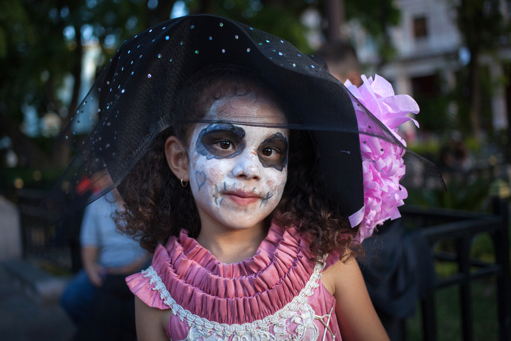 Day of the Dead - participant on a carnival of the Day of the Dead, Aguacalientes, Mexico