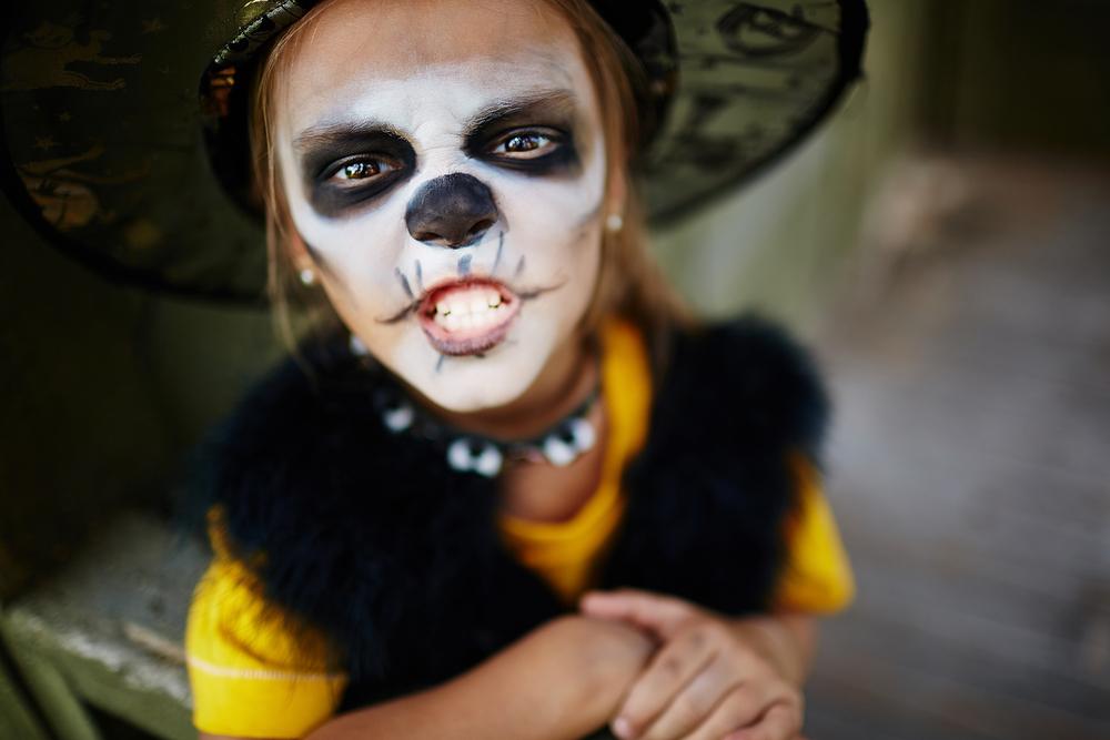 Halloween History - Halloween girl in skull makeup