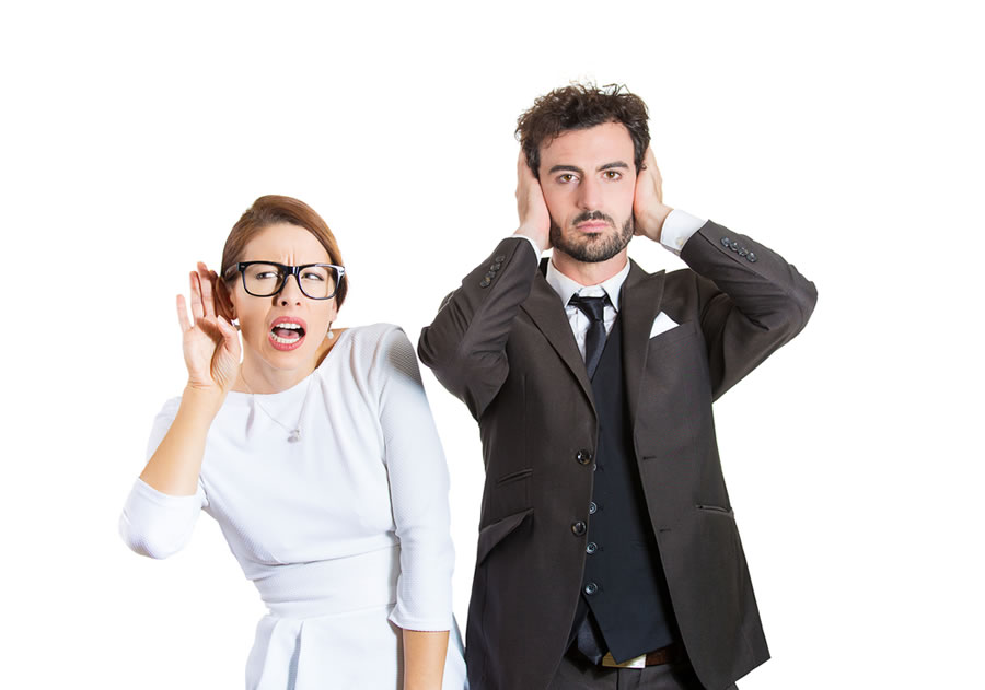 Gender Differences - man-blocking-sound-and-woman-listening
