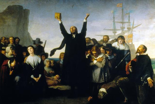 thanksgiving-pilgrims-praying-painting