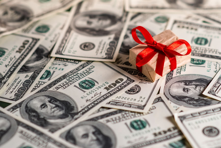 Holiday Spending - money and gift