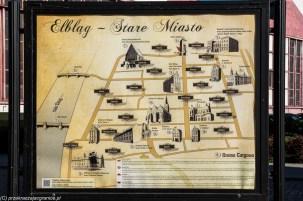 Elbląg - tablica z atrakcjami miasta
