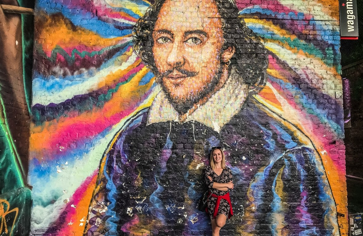 Mural Williama Shakespeare'a londyn - spacer wzdłuż tamizy
