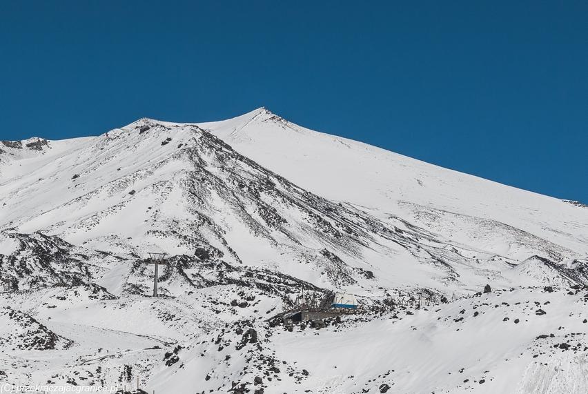 wulkan etna - góra pokryta śniegiem