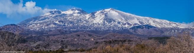 wulkan etna - panorama na ośnieżone szczyty