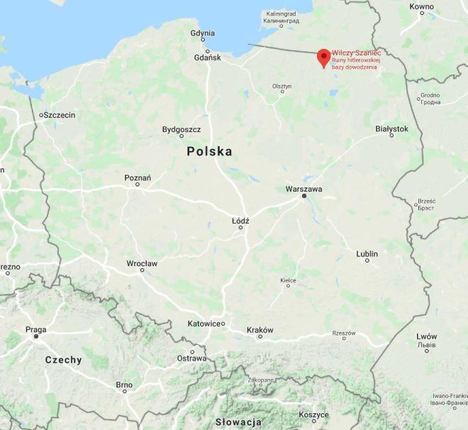 Wilczy Szaniec - mapa Polski