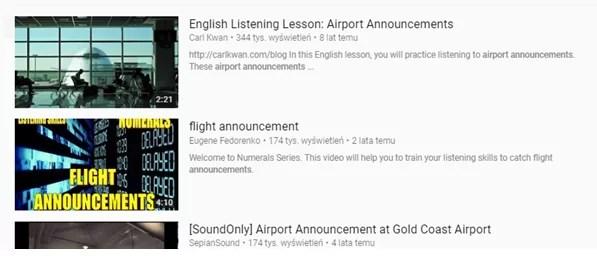 Czego się uczyć żeby nauczyć się angielskiego - airport announcements