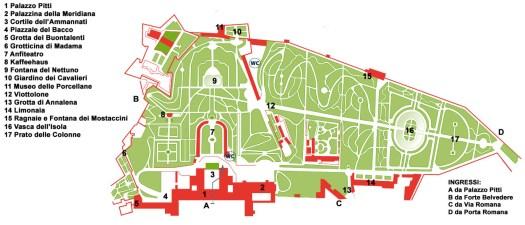 Ogrody Boboli mapka