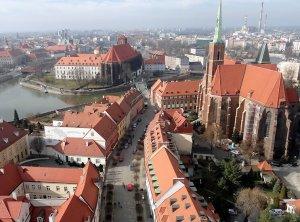 Wrocław Piastów - Widok z wieży Katedry na Wyspy Odrzańskie