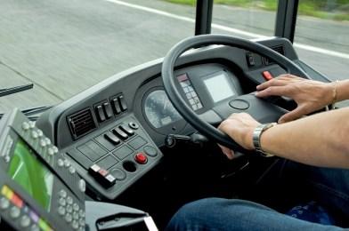 ręce kierowcy busa za kierownicą