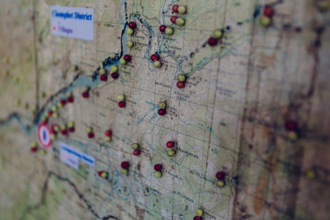 Mapa zzaznaczonymi potencjalnie niebezpiecznymi obszarami