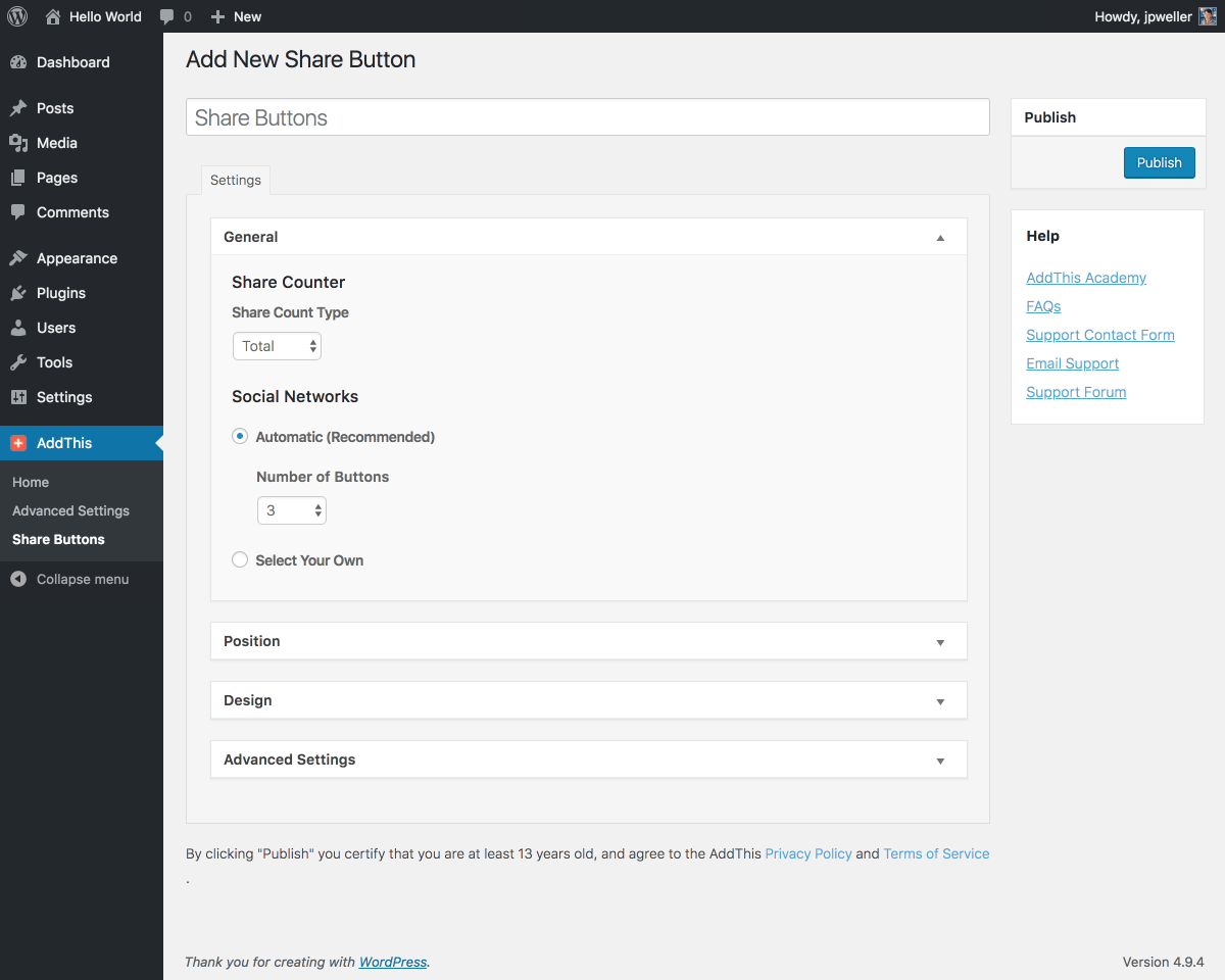 WordPress Share Buttons Plugin – AddThis Screenshot
