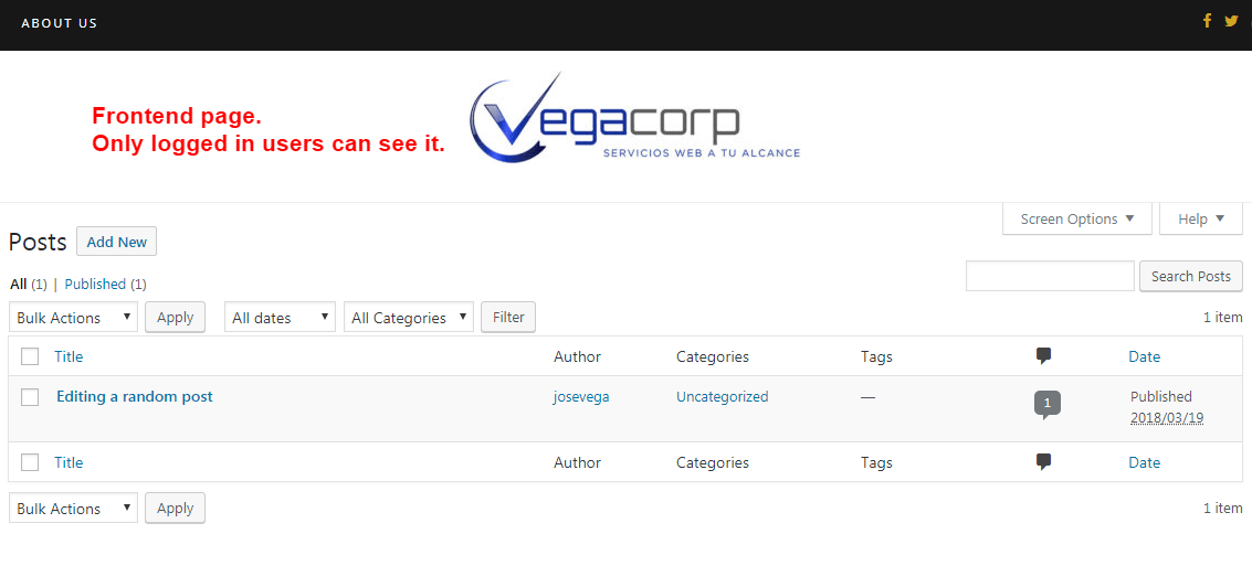 Admin page in the frontend