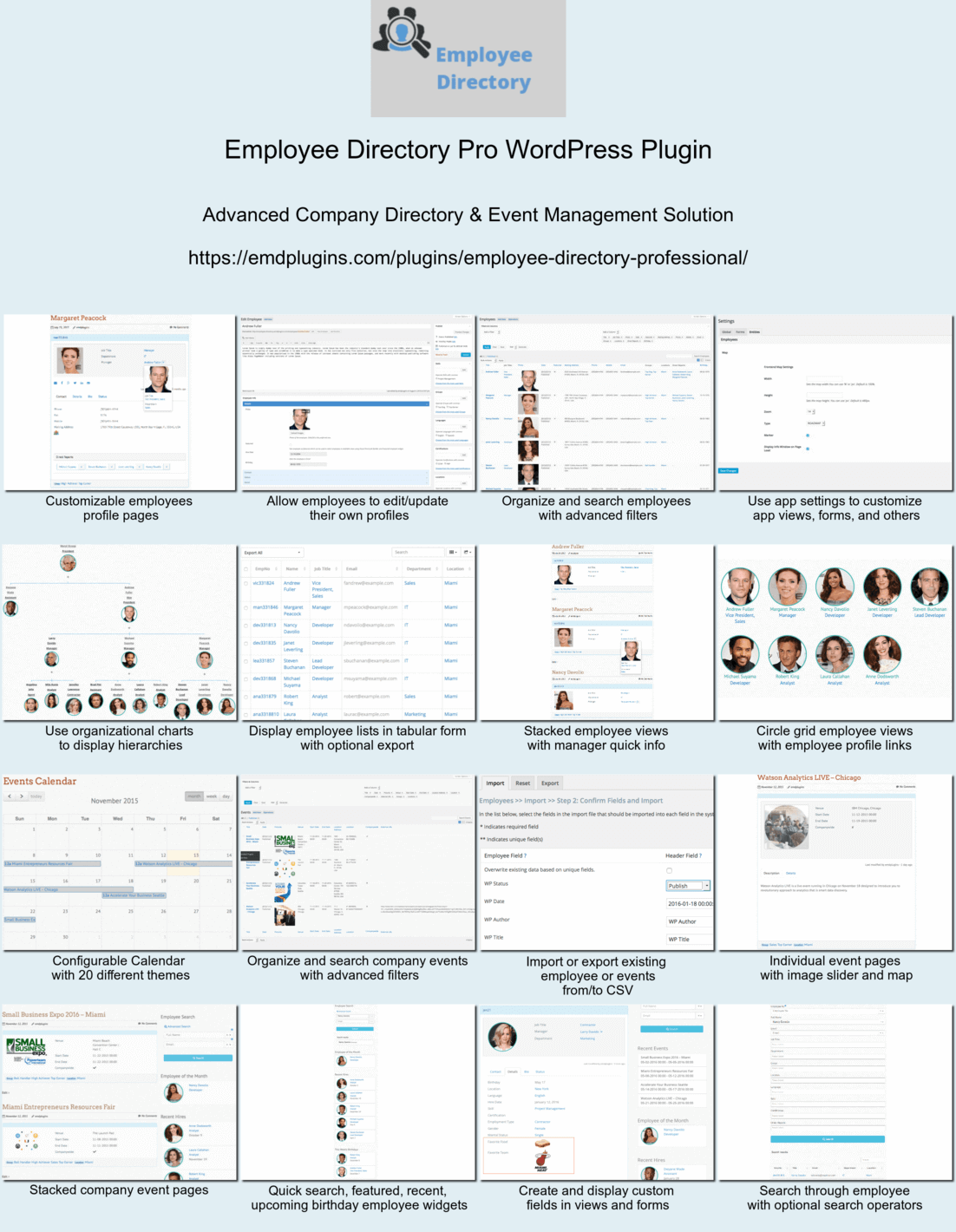 Employee directory pro most advanced company and event management solution built with wp app studio also staff  for wordpress rh