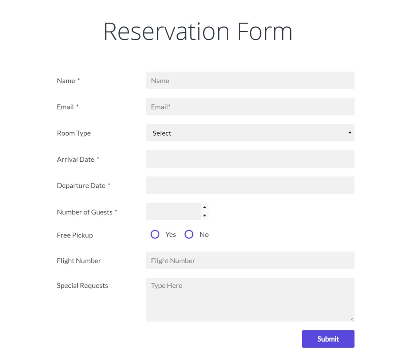 Wordpress Form Maker - Sample Rsvp