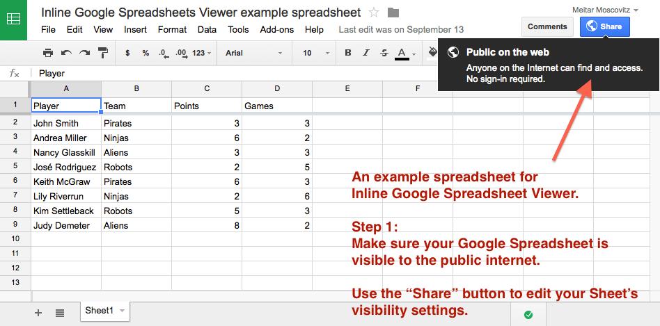 Inline Google Spreadsheet Viewer | WordPress.org