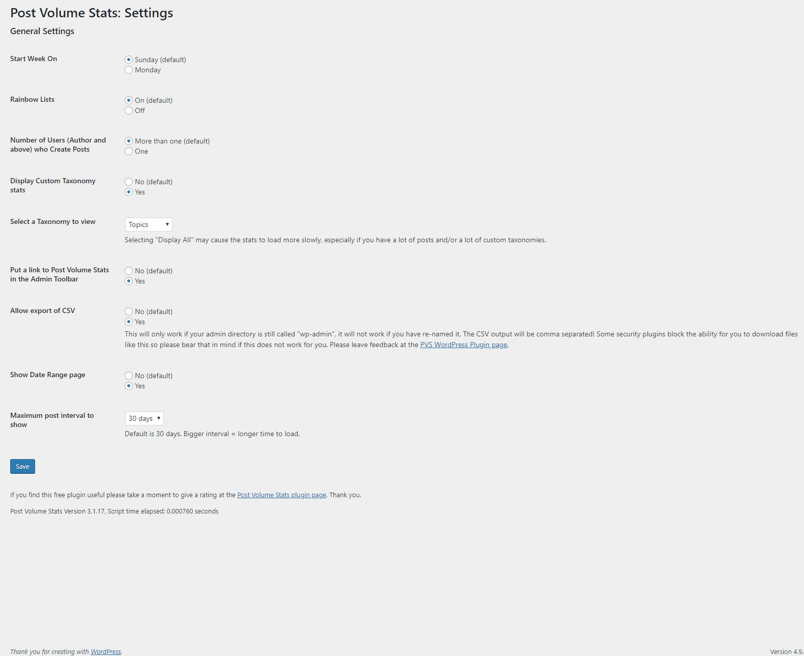 New settings page screenshot