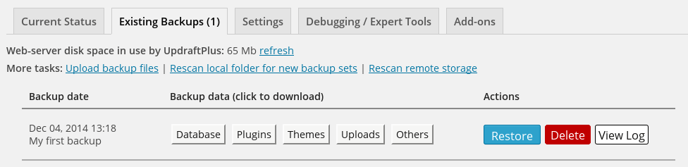 UpdraftPlus WordPress Backup Plugin Capture d'écran