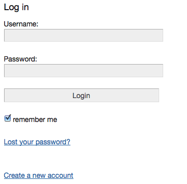 User login form, displayed if a person is not logged in yet.