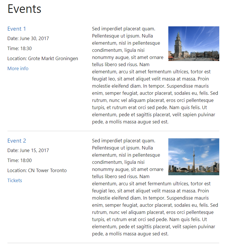 very simple event list