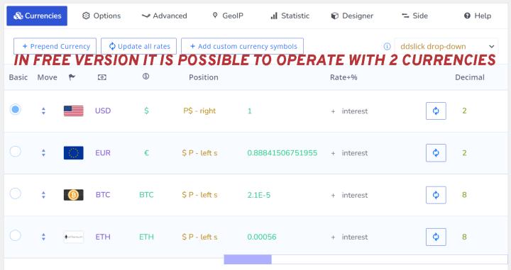 WOOCS – Currency Switcher for WooCommerce Capture d'écran