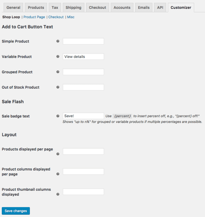 WooCommerce Customizer Capture d'écran