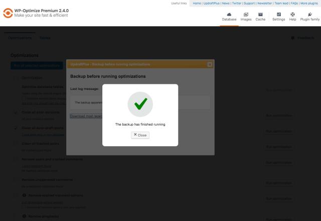 WP-Optimize Screenshot