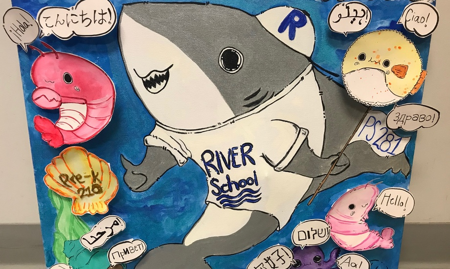 """teacher- and student-made artwork of school mascot (river shark) surrounded by sea creatures saying """"hello"""" in different languages"""