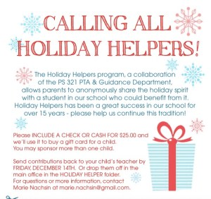 Final Call For Holiday Helpers