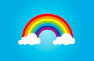 A rainbow on a blue background surrounded by clouds