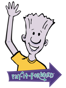 Ned waving with a sign that says Pay-it-Forward