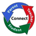 "three curved arrows with the words ""parent,"" ""teacher,"" ""student"" encircling the word ""connect"""
