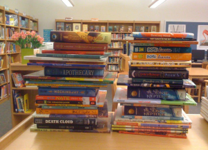 Stack of Books in the PS 8 Library