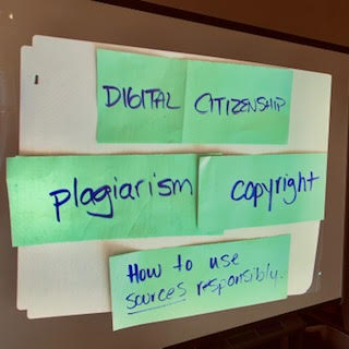 Document camera image of key concepts for 5th graders learning about digital citizenship
