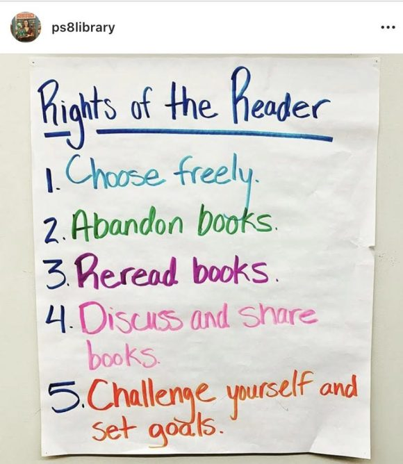 Rights of the Reader 1. Choose freely 2. Abandon books 3. Reread books 4. Discuss and share books 5. Challenge yourself and set goals