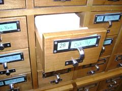 drawer of card catalog