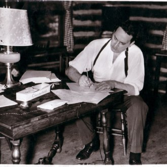 Thomas Wolfe at Cabin writting desk
