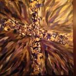 Purple/Gold/ Black/White Radiant Canvas Cross