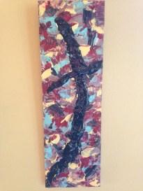 Wood Panel-glossy black cross