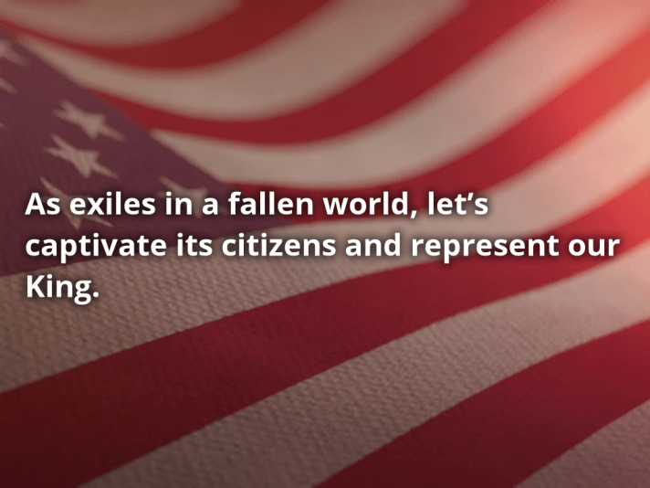 The sermon theme statement over an American flag.