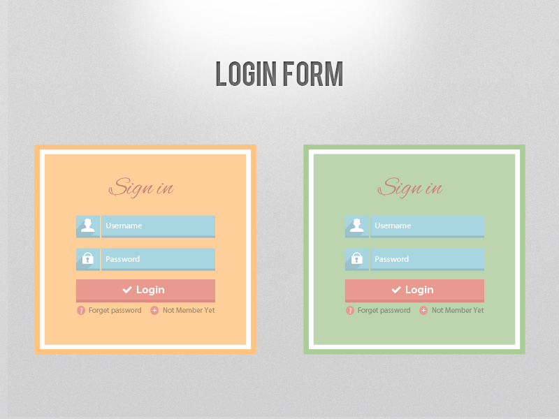 Free Flat login form user interface psd