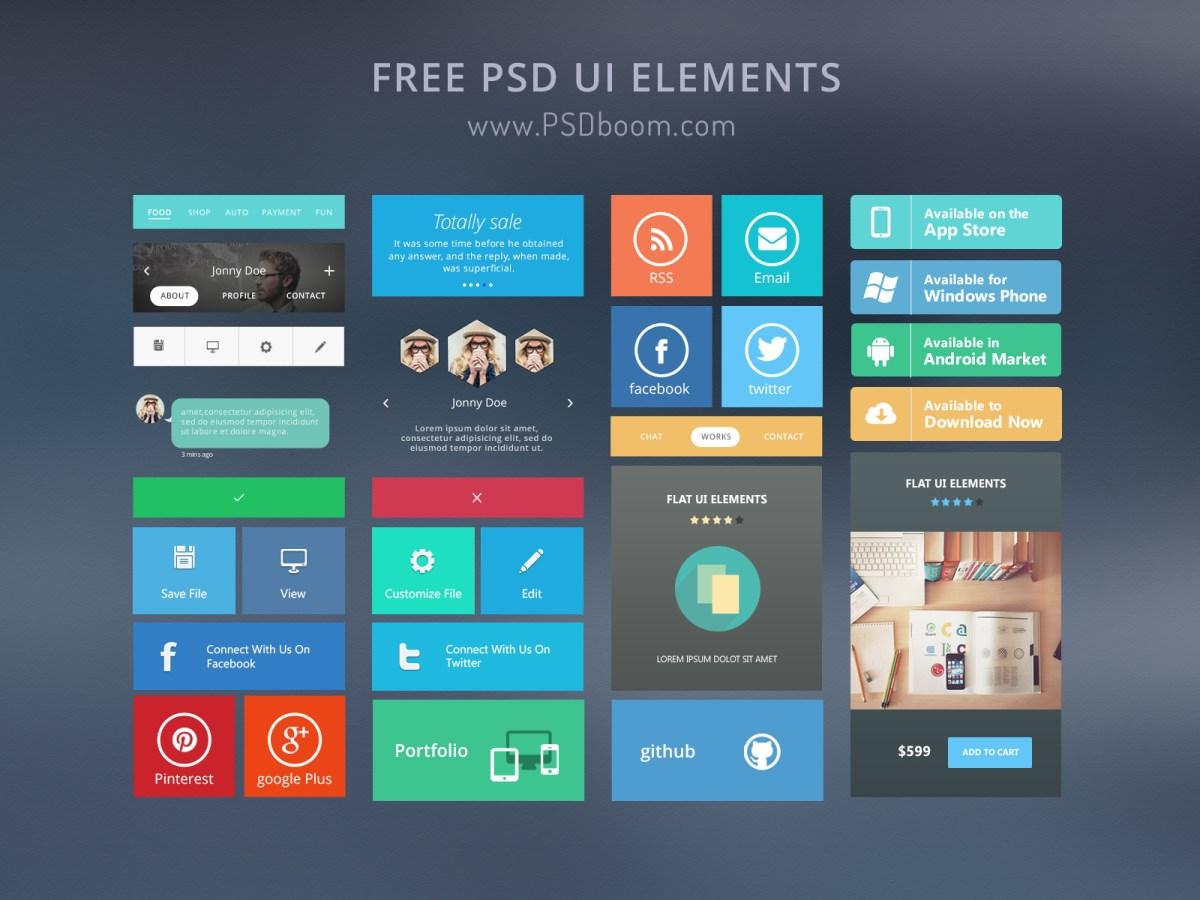 free modern ui kit psd download  u2013 psdboom