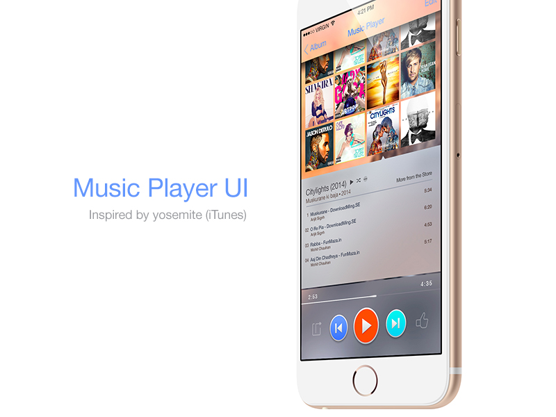 Music Player UI psd download