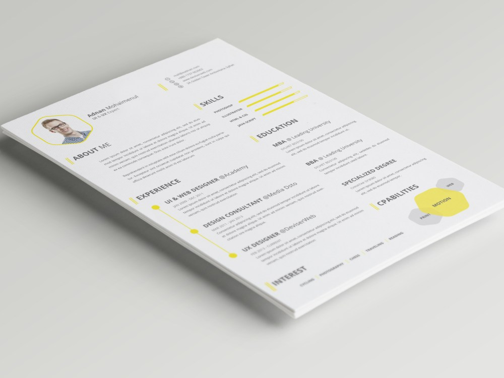 CV or Resume PSD Template Free Download