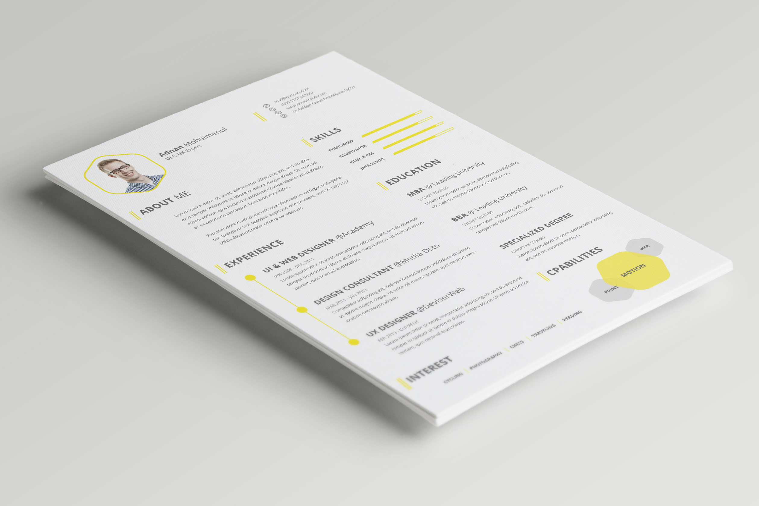 CV Or Resume PSD Template Free Download  Resume Template Psd