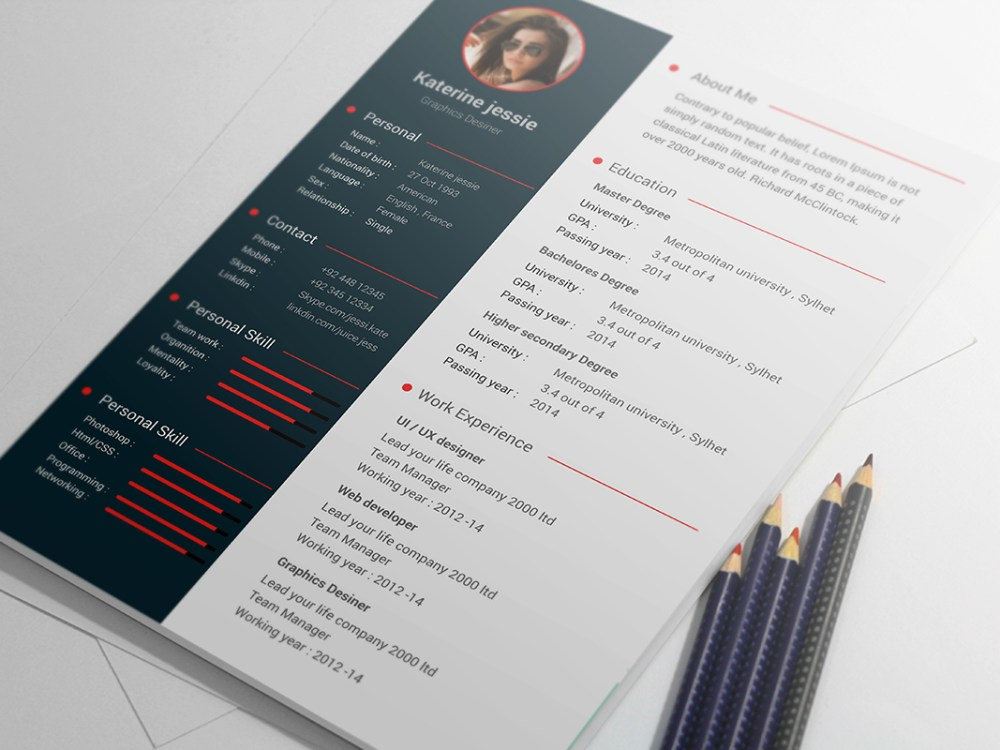 Free Psd Resume Cv Template Download