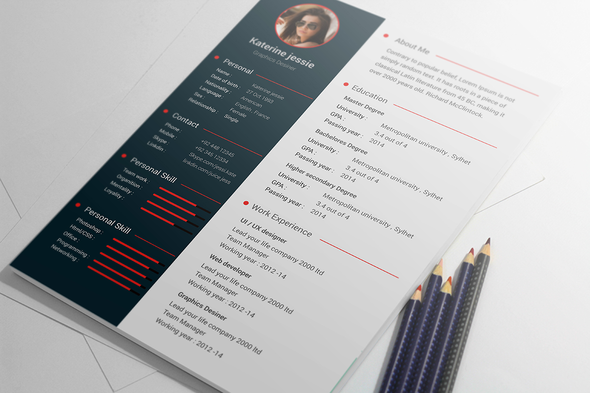 Free Psd Resume Cv Template Download  Resume Cv