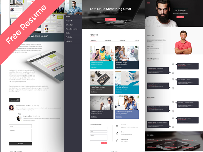 free personal cv resume web template psdboom
