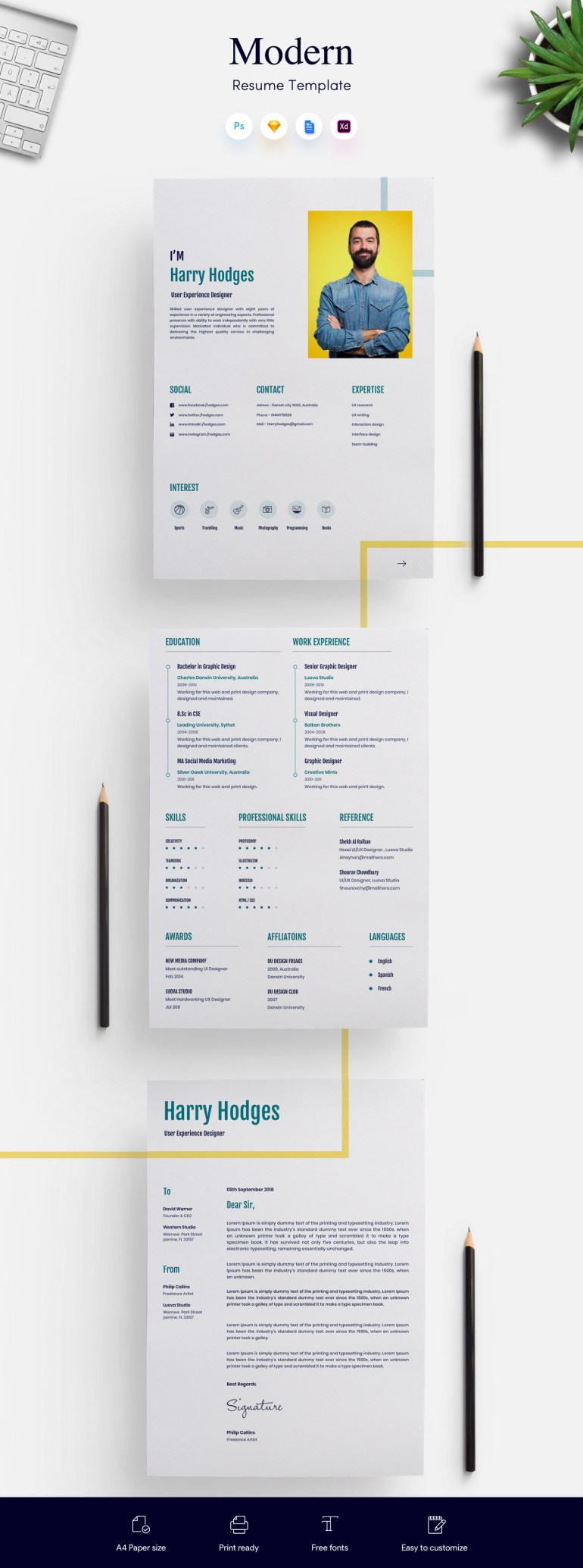 1. 3 Page Modern CV/Resume Template